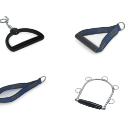 Set of 6 different type handles for exercises and applications for the Archimedes pulley therapy system