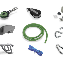 Set of 9 types of items useful for the Archimedes pulley therapy system.