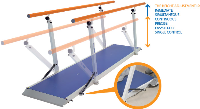 Parallel bars standgo height adjustment